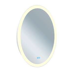 CWI Lighting Agostino Oval Mirror with LED Light - 22-in x 30-in - Matte White
