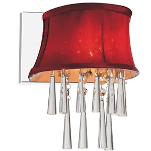 CWI Lighting Audrey Bathroom Wall Sconce - 1-Light - Chrome/Rose Red
