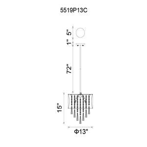 CWI Lighting Renee Mini Pendant Light - 4-Light - Chrome/Black