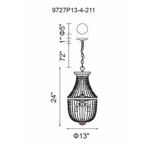 CWI Lighting Kala Mini Chandelier - 4-Light - Antique Bronze