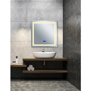 CWI Lighting Abigail Sqaure Mirror with LED Light - 3,000 K - 36-in - Matte White
