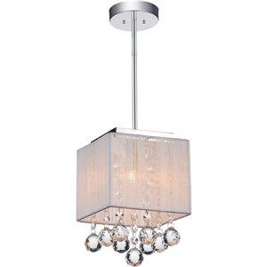 CWI Lighting Shower Mini Pendant Light - 1-Light - Chrome - White