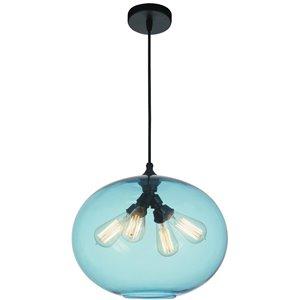 CWI Lighting Glass Pendant Light - 4-Light - Transparent Blue