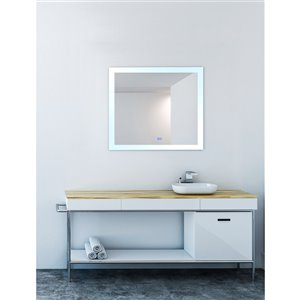 CWI Lighting Abigail Rectangular Mirror with LED Light - 40-in x 36-in - Matte White