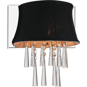 CWI Lighting Audrey Bathroom Wall Sconce - 1-Light - Chrome/Black