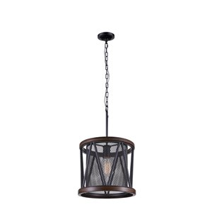 CWI Lighting Parsh 1-Light Drum Shade Mini Chandelier with Pewter Finish
