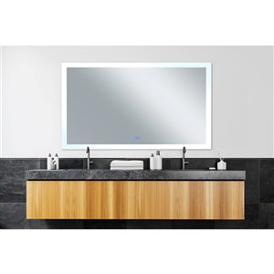 CWI Lighting Abigail Rectangular Mirror with LED Light - 58-in x 36-in - Matte White
