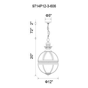 CWI Lighting Lune 3-Light Up Mini Pendant with Satin Nickel Finish