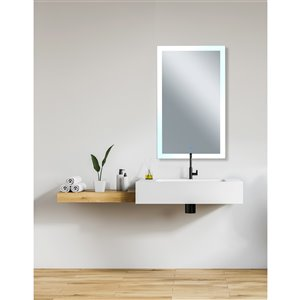 CWI Lighting Abigail Rectangular Mirror with LED Light - 30-in x 49-in - Matte White