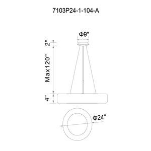 CWI Lighting Modern Arenal Pendant Light - LED - 24-in - White