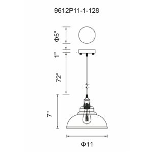 CWI Lighting Vogel Mini Pendant Light - 1-Light - Antique Copper