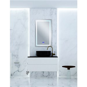 CWI Lighting Abril Rectangular Mirror with LED Light - 6,000 K - 30-in x 49-in - Matte White