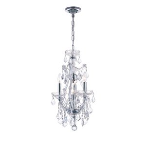 CWI Lighting Maria Theresa 4-Light Up Mini Chandelier with Chrome Finish