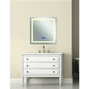 CWI Lighting Abril Rectangular Mirror with LED Light - 3,000 K - 40-in x 36-in - Matte White