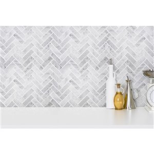 Mono Serra Marble Tile 12-in x 12-in Herring Bone Mosaic 10 sq.ft. / case (10 pcs / case)