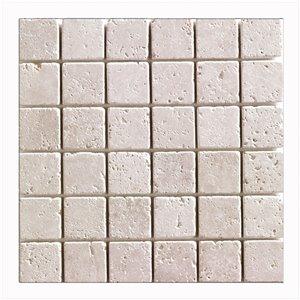 Mono Serra Tumbled Marble 12'' x 12'' Travertino Ivory 2-in x 2-in 10 sq. ft / case