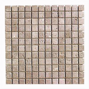 Mono Serra Tumbled Marble 12'' x 12'' Travertino Noce 1-in x 1-in 10 sq. ft / case