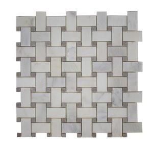 Mono Serra Marble Tile 12-in x 12-in Basketwave Mosaic 10 sq.ft. / case (10 pcs / case)