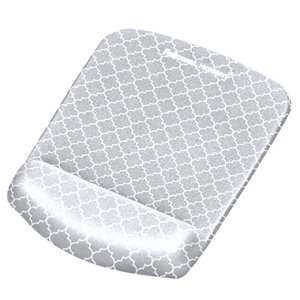 Fellowes PlushTouch Mouse Pad with Wrist Rest - Gray Lattice