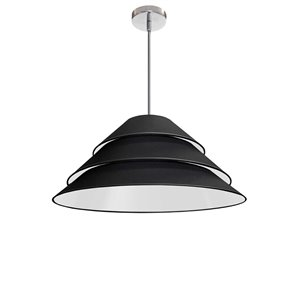 Dainolite Aranza Pendant Light - 1-Light - 26-in x 11.5-in - Polished Chrome/Black
