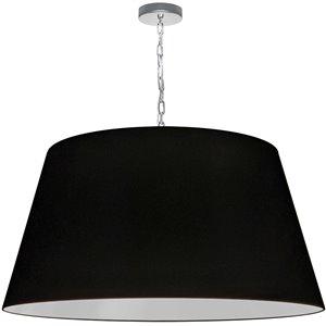 Dainolite Brynn Pendant Light - 1-Light - 32-in x 16-in - Polished Chrome and Black