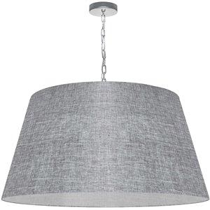 Dainolite Brynn Pendant Light - 1-Light - 32-in x 16-in - Polished Chrome/Light Grey