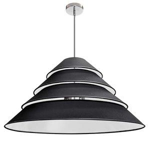 Dainolite Aranza Pendant Light - 4-Light - 32-in x 15.25-in - Polished Chrome/Black