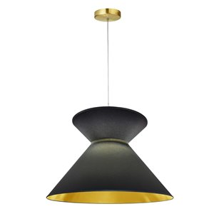 Dainolite Patricia Pendant Light - 1-Light - 18-in x 11.5-in - Aged Brass/Black and Gold