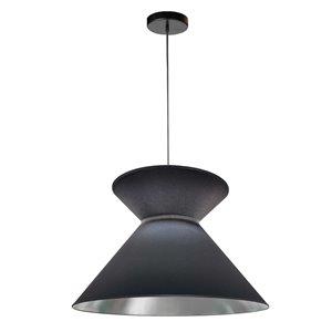 Dainolite Patricia Pendant Light - 1-Light - 18-in x 11.5-in - Black and Silver