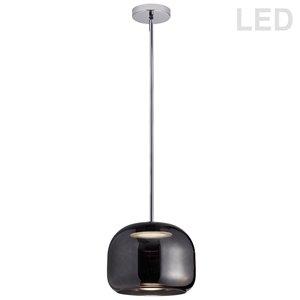 Dainolite Signature Pendant Light - 1-Light - 9.8-in x 7.9-in - Polished Chrome/Smoked Glass