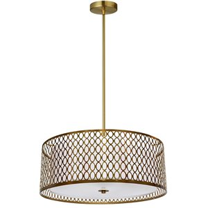 Dainolite Kordan Pendant Light - 3-Light - 17-in x 6.25-in - Aged Brass