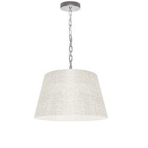 Dainolite Brynn Pendant Light - 1-Light - 14-in x 7-in - Polished Chrome/Off-White