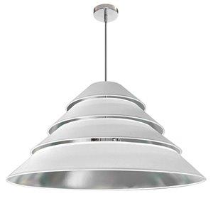 Dainolite Aranza Pendant Light - 4-Light - 32-in x 15.25-in - Polished Chrome/White and Silver