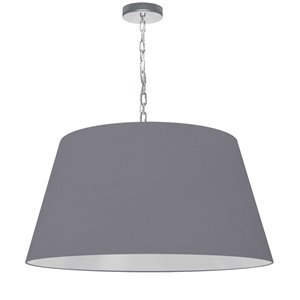 Dainolite Brynn Pendant Light - 1-Light - 26-in x 13-in - Polished Chrome/Grey