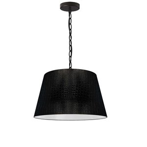 Dainolite Brynn Pendant Light - 1-Light - 14-in x 7-in - Glossy Black