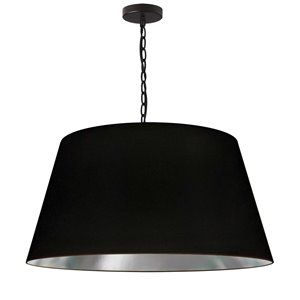 Dainolite Brynn Pendant Light - 1-Light - 26-in x 13-in - Black and Silver