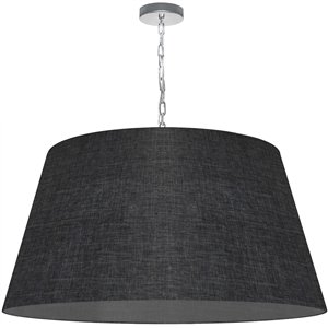 Dainolite Brynn Pendant Light - 1-Light - 32-in x 16-in - Polished Chrome/Grey