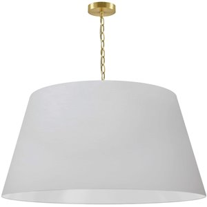 Dainolite Brynn Pendant Light - 1-Light - 32-in x 16-in - Aged Brass and Matte White