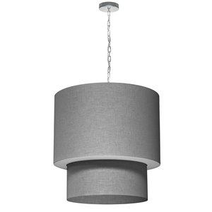 Dainolite Shelley Pendant Light - 5-Light - 24-in x 24-in - Polished Chrome/Grey