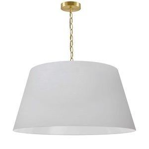 Dainolite Brynn Pendant Light - 1-Light - 26-in x 13-in - Aged Brass/Matte White