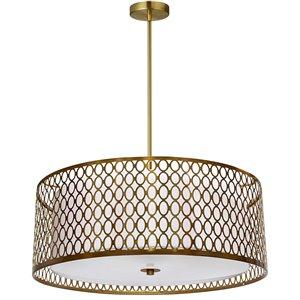 Dainolite Kordan Pendant Light - 3-Light - 22-in x 6.25-in - Aged Brass