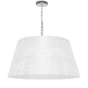 Dainolite Brynn Pendant Light - 1-Light - 26-in x 13-in - Polished Chrome and White