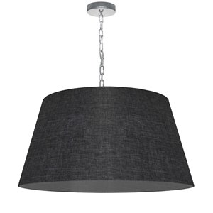 Dainolite Brynn Pendant Light - 1-Light - 26-in x 13-in - Polished Chrome and Grey
