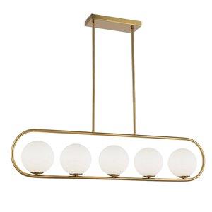 Dainolite Adrienna Pendant Light - 5-Light - 40-in x 10-in - Aged Brass