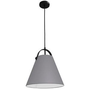 Dainolite Emperor Pendant Light - 1-Light - 13-in x 11-in - Matte Black/Grey