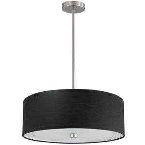 Dainolite Everly Pendant Light - 4-Light - 20-in x 5-in - Satin Chrome/Black