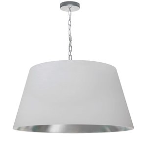 Dainolite Brynn Pendant Light - 1-Light - 26-in x 13-in - Polished Chrome/White and Silver