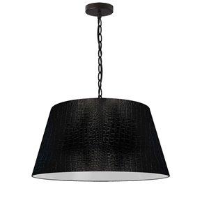 Dainolite Brynn Pendant Light - 1-Light - 20-in x 10-in - Glossy Black