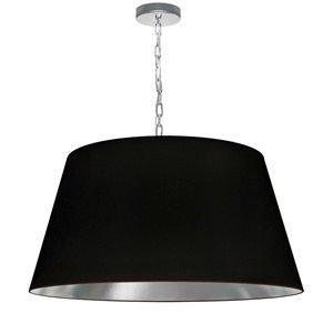 Dainolite Brynn Pendant Light - 1-Light - 26-in x 13-in - Polished Chrome/Black and Silver