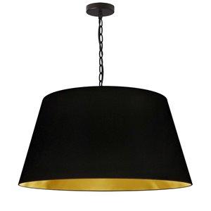 Dainolite Brynn Pendant Light - 1-Light - 26-in x 13-in - Black and Gold